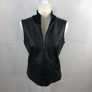 INC Black Leather Full-Zip Vest Size M